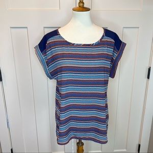 Papermoon for stitch fix striped tribal blouse L